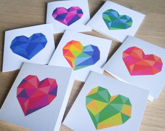 """Small Geometric Heart Thank You Card 