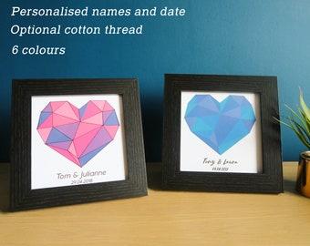 Personalised Anniversary Artwork, Framed Cotton Wedding Gift, Geometric Heart Wall Art, for Husband Wife Boyfriend Girlfriend Couple