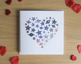 Space Heart Greetings Card | Handmade Birthday, Anniversary, Valentines Card featuring Stars and Planets Cut into Heart Shape