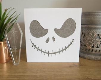Skeleton Jack Handmade Birthday, Halloween Card | Glittery Sparkly Skull Design