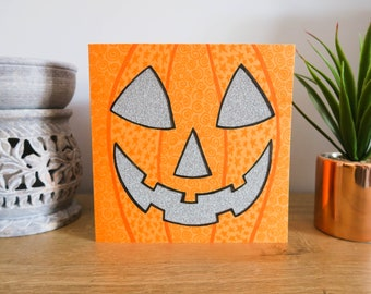 Glitter Pumpkin Halloween Card Hand Drawn and Hand Cut with Illustrated Patterns
