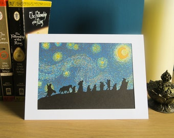 Fellowship on a Starry Night | Handmade Birthday Card & Wall Art | LOTR Silhouette in Van Gogh style for fans of Tolkien, Lord of the Rings