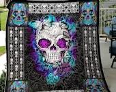 Skull Throw Blanket, Skull Sherpa Fleece Blanket, Skull Blanket, Sugar Skull Blanket, Home Decor, Goth Decor Bedding, Halloween Skeleton