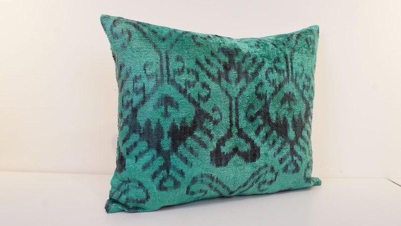 16\u201d x 20\u201d Ikat Velvet Pillow Cover Handmade Silk Ikat Velvet Pillow