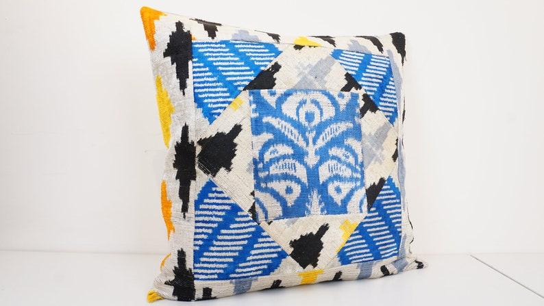 Handmade Silk Ikat Velvet Pillow Ikat Velvet Pillow Cover 20\u201d x 20\u201d