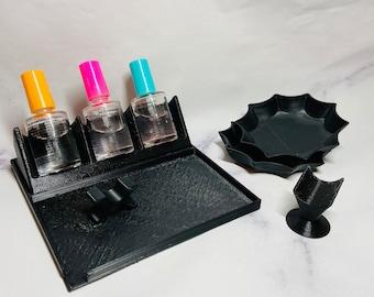 Pro Set | Nail Liquid Holder | Dip Powder Saver Tray | Brush Holder | Glitter Press | Finger Rest | Dip Nail Accessories Set
