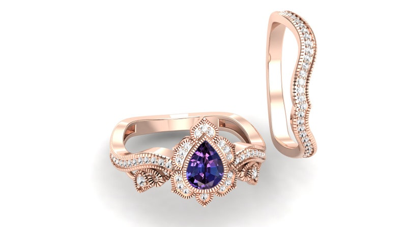 1.15 ct lab created Alexandrite,pave set moissanite in 14k rose gold plated engagement ring set vintage art deco Floral Ring set for women