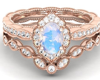1.18 ct Natural AAA Rainbow moonstone & pave set moissanite in 14k Rose gold plated engagement ring Set vintage art deco ring for women gift