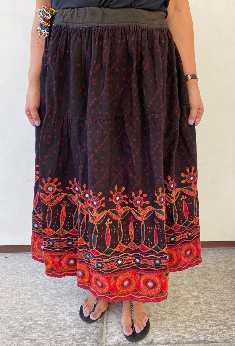 Indian Vintage Embroidery mirror cloth skirt