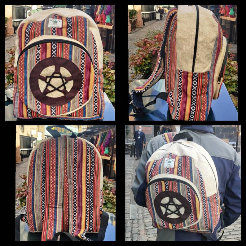 Hemp small baby multicolored Bagpack for outdoor use Natural gheri zigzag stringed stripe handmade organic sustainable vegan bagpack