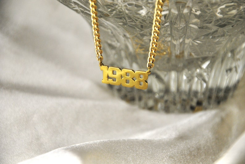 Number Necklace  Gold Number Pendant  Year Necklace  Personalized Number Necklace  Date Necklace  Curb Chain  For Men  For Women