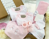 New Baby Girl Gift Box, It 39 s a Girl, New Mum Gift, Baby Clothing and Cellular Blanket, New Mum Hamper
