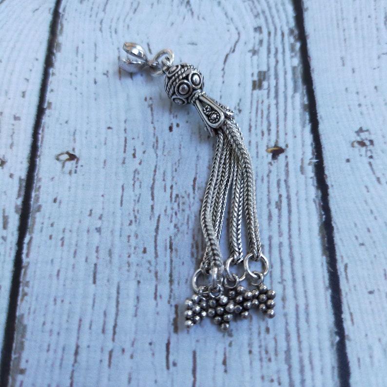 925 Sterling Silver Node Shut off and Dangle Pendant Tassel for Rosary Komboloi Masbaha Misbah Tesbih Tasbih Accessory