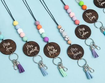 Personalized Beaded Lanyard for Keys or ID Badge - Teacher Gift - Nurse Gift - Student Gift - ID Badge Lanyard - Beaded Lanyard - Cursive