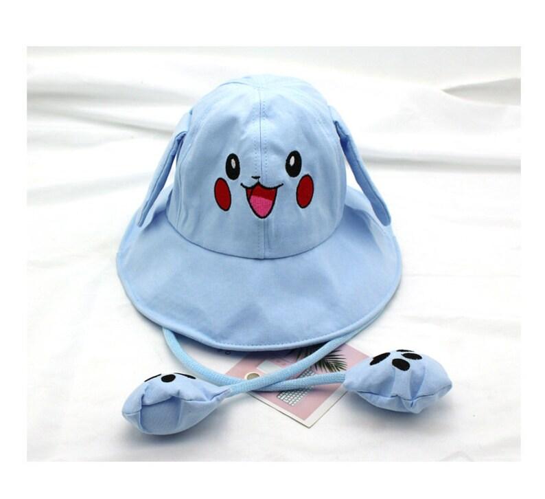 1pcs cotton Parent child hat free shipping  spring summer  rabbit ear moving bucket hat Pikachu kid  hat  H2021-15