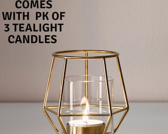 MW70046 Gold Heart Candle Holder Geometric Wire Wedding Bridal Shower Party Table Decorations Candleholders
