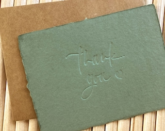 letterpressed thank you cards A2 on sage green handmade paper