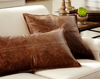Leather Pillow Cover Etsy