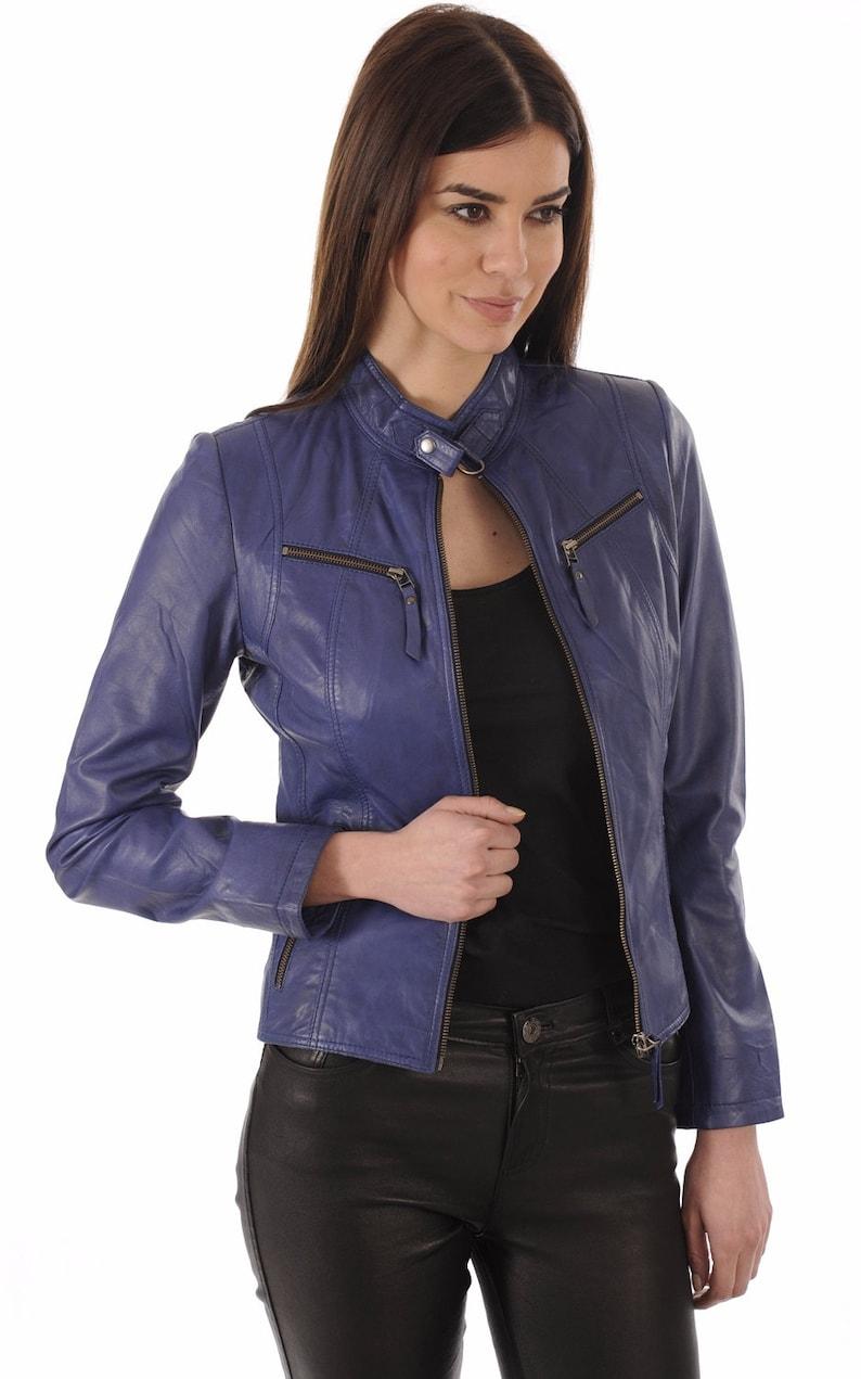 SkinOutfit Women Leather Jacket Bomber Biker Genuine Lambskin Leather Jacket for Women Blue