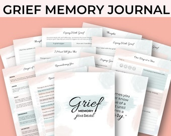 Grief Journal Printable | Bereavement Therapy | Grief and Loss | Memory Journal