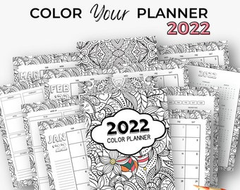 Coloring Daily Planner | Printable 2022 Calendar | Adult Coloring Stress Relief Planner