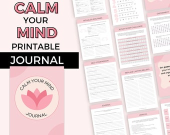 Printable Mind Calming Journal | Reduce Stress & Anxiety | Find Inner Peace | Declutter Your Mind