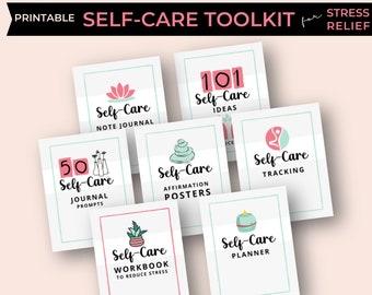 Self-Care Printable Toolkit | Self Care Journal, Planner, Workbook Bundle | Stress Relief Through Self-Care