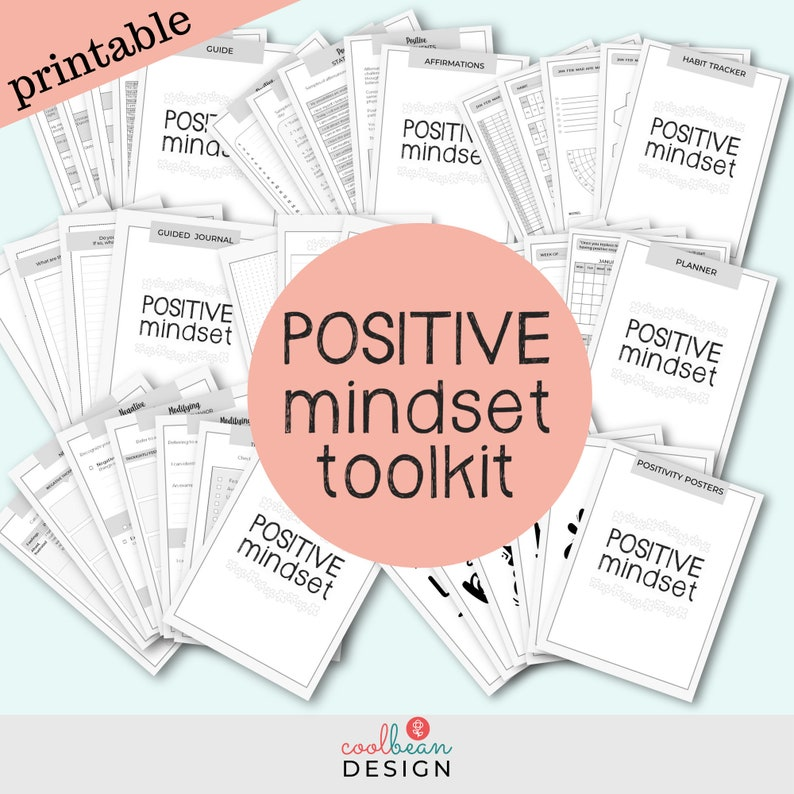 Printable Positive Mindset Bundle  Growth Mindset Toolkit  image 0