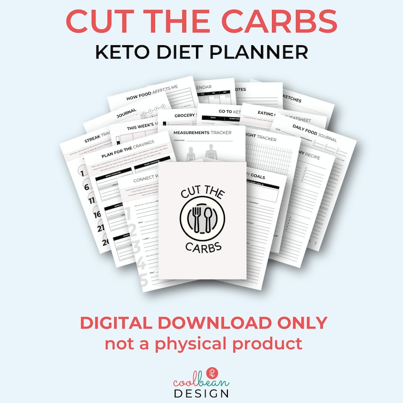 Printable Cut the Carbs Planner  Keto Diet Planner  Low-Carb image 1