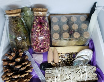 Witchcraft / Baby Witch Apothecary Starter Set / Gift Set Includes Crystals, Herbs, Flowers & Much More! Includes Free Shipping in USA