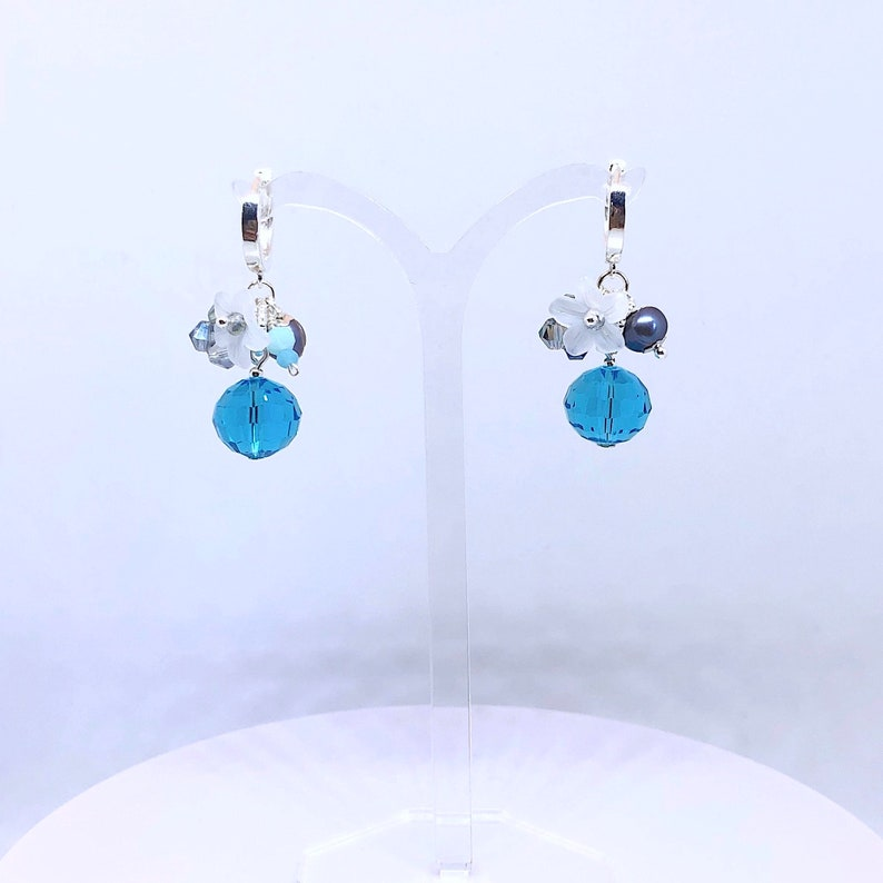 engagement gift idea for her Silver earrings with river pearls and white flowers blue romantic jewel