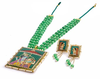Hand painted green onyx necklace set Traditionally hand painted of lord Radha Krishna necklace