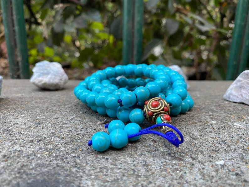 HAPPY VALENTINE DAY !! Mala for unisex High quality Tibetan Turquoise prayer Beads