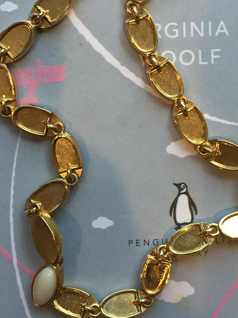 Vintage Gold and Enamel Oval Princess Length Necklace