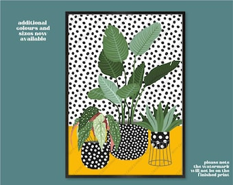 House Plants Print, Plants in Spotty Vases, Cute Plants, Botanical Wall Art, Indoor Plants, Quirky Plants and Spots