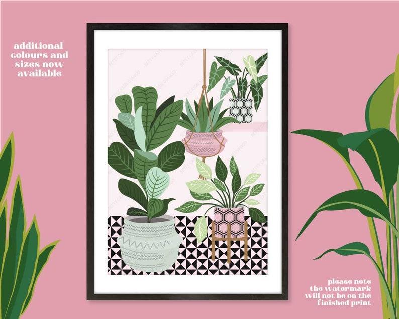 House Plants on Tiled Floor Print Botanical Interior Print image 0