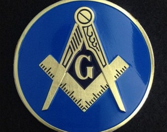 Gold /& Blue 3 Diameter Rotary International Round Masonic Auto Emblem