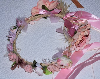Bridesmaid Crown Floral Props Handmade Fabric Flowers, Brown Woman Crown Textile Flower Crown Party Guest Crown Brown Headdress