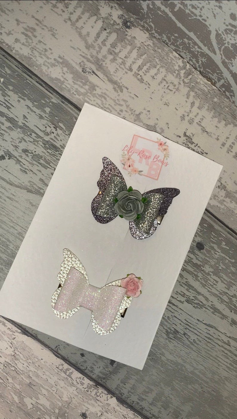 butterfly bow clip flower clip Butterfly hair clip butterfly bow