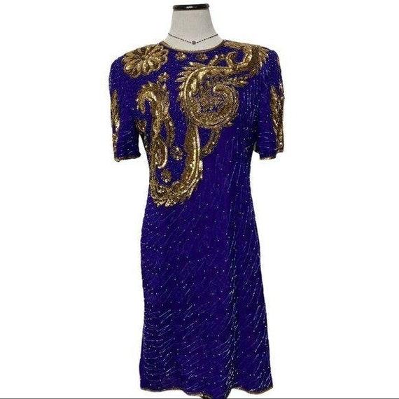 Vintage 80's Silk Sequin Cocktail dress