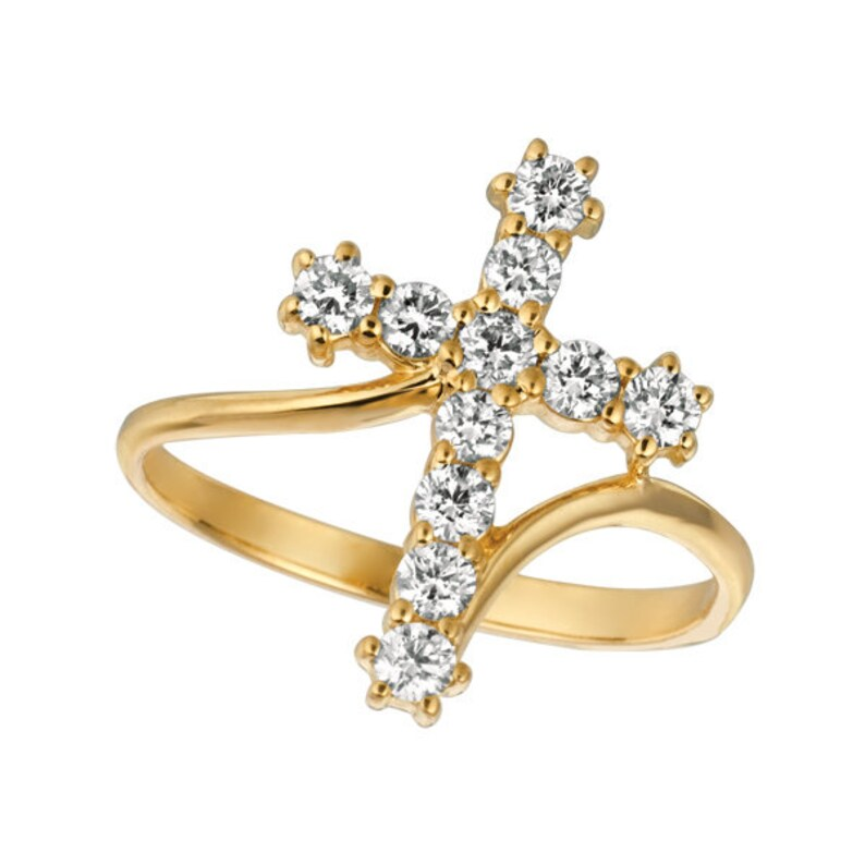 0.10 Carat Natural Diamond Cross Ring G SI 14K White Gold
