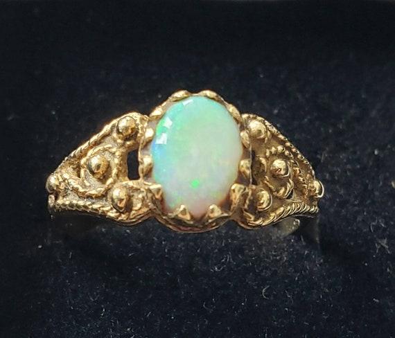 Fiery opal ring   14k opal ring   Cabochon opal ri