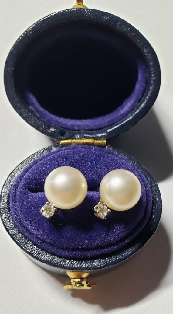 Diamond and pearl earrings | 14k pearl earrings |