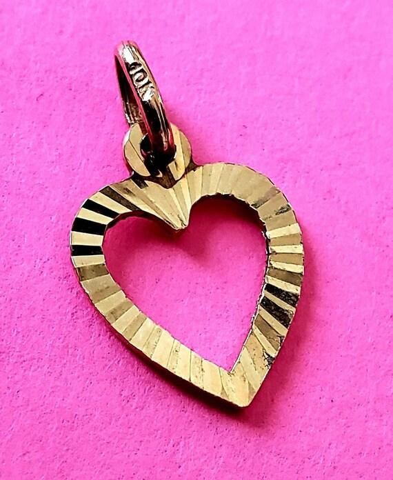 Gold heart pendant | 10k yellow gold heart | Valen