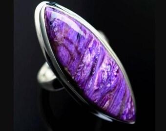 US size-7 designer ring gift for her handmade ring gemstone ring charoite gemstone ring solid sterling silver ring D23 Charoite ring