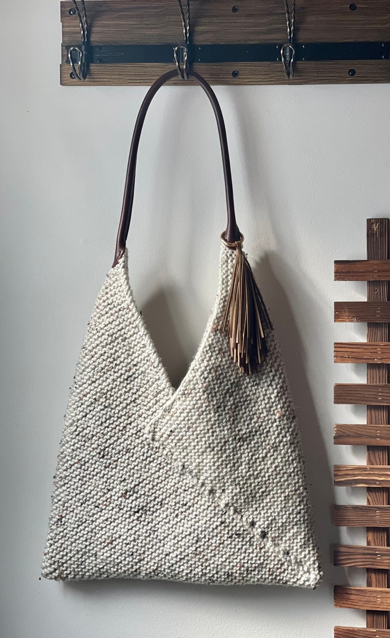Handmade Knit Boho Linen Tote Bag with Leather Accents