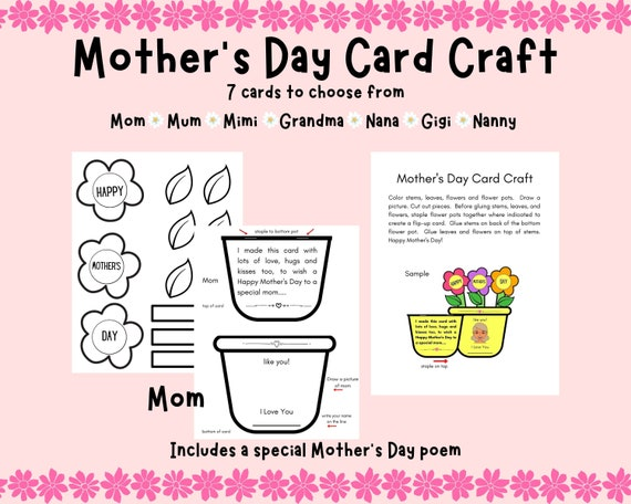 Mother's Day Card Craft Printable Cards for Mom