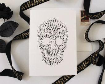 Halloween Greeting Card - Calligraphy Skull - Calligraphy Card, Blank Card Set, Spooky Fall Card