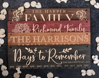 Wood Family Calendar Personalized Family Birthday Calendar Personalize Calendar for Wall Family Gifts  Wooden Board Calendar,