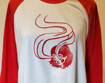 Spirit Eyes Adult XL Shirt: Hand carved, hand printed block print